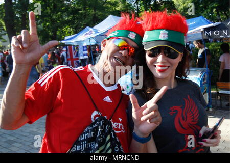 Kiev, Ukraine. 26th May, 2018. KIEV, UKRAINE - MAY 26, 2018: Liverpool FC fans pose ahead of their team's 2017/18 UEFA Champions League final match against Real Madrid in Kiev. Pyotr Sivkov/TASS Credit: ITAR-TASS News Agency/Alamy Live News - Stock Photo