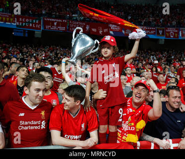Kiev, Ukraine. 26th May, 2018. Liverpool fans before the UEFA Champions League Final match between Real Madrid and Liverpool at Olimpiyskiy National Sports Complex on May 26th 2018 in Kyiv, Ukraine. (Photo by Daniel Chesterton/phcimages.com) Credit: PHC Images/Alamy Live News - Stock Photo