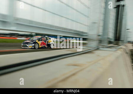 Towcester, Northamptonshire, UK. 27th May, 2018. RX2 driver Oliver Eriksson (SWE) and Olsbergs MSE drives during the RX2 International Series at Silverstone (Photo by Gergo Toth / Alamy Live News) - Stock Photo