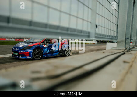 Towcester, Northamptonshire, UK. 27th May, 2018. RX2 driver Sondre Evjen (NOR) and JC Raceteknik drives during the RX2 International Series at Silverstone (Photo by Gergo Toth / Alamy Live News) - Stock Photo