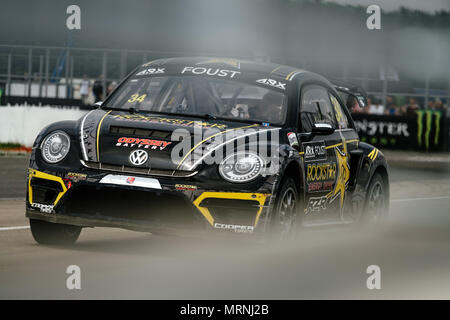 Towcester, Northamptonshire, UK. 27th May, 2018. ARX driver Tanner Foust (USA) and Andretti Volkswagen Racing drives during the Americas Rallycross Championship at Silverstone (Photo by Gergo Toth / Alamy Live News) - Stock Photo