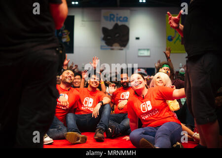 London, UK. 27th May, 2018.  Guests, attendees, celebrities at MCM London Comic Con in Summer, May 2018. Fans gathered to celebrate popular culture with talks, exhibitions, signings, and meetups. © Simon King/ Alamy Live News - Stock Photo