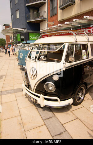 The annual Plum Jam in Horsham town centre featuring vintage VW vehicles attracts visitors from around the Sussex area and beyond. - Stock Photo