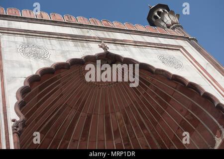 Detail of Jama Masjid Mosque, Old Delhi, Delhi, India - Stock Photo