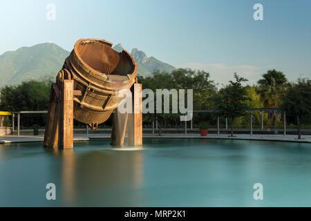 Fuente de Crisol (Melting Pot Fountain), Paseo Santa Lucía, Parque Fundidora, Monterrey, Nuevo León, México - Stock Photo
