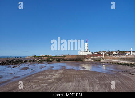 Looking over the small Beach adjacent to Arbroath Harbour south to the Signal Tower Museum one early Summers morning in May. Arbroath, Angus, Scotland - Stock Photo