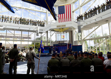 Members of the 479th Flying Training Group look on during a change of command ceremony June 30, 2017 at the National Naval Aviation Museum, Naval Air Station Pensacola, Fla. (U.S. Air Force photo by Tech. Sgt. Ave I. Young) - Stock Photo