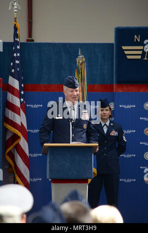 Col. Joel Carey, 12th Flying Training Wing commander, provides opening remarks during the 479th Flying Training Group change of command ceremony June 30, 2017 at the National Naval Aviation Museum, Naval Air Station Pensacola, Fla. (U.S. Air Force photo by Tech. Sgt. Ave I. Young) - Stock Photo