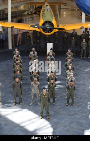 Members of the 479th Flying Training Group in formation stand at parade rest during the change of command ceremony June 30, 2017 in the National Naval Aviation Museum at Naval Air Station Pensacola, Fla. (U.S. Air Force photo by Capt. Devin Vitt) - Stock Photo