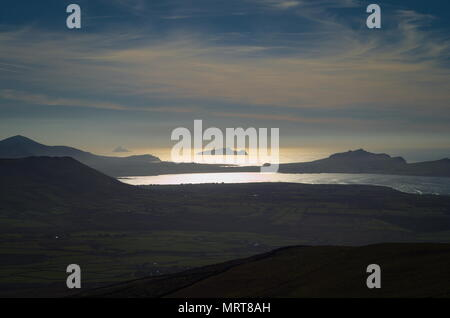 The view from looking west over the Atlantic Ocean from Mount Brandon - Stock Photo