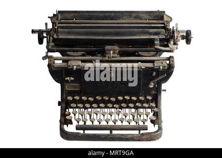 vintage retro typewriter isolated on white background - Stock Photo