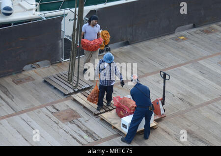170706-N-WJ640-007 NOUMEA, New Caledonia (July 06, 2017) Civilian Mariners onboard USNS Sacagawea (T-AKE 2), onload stores and supplies off shore Noumea, New Caledonia in support of Koa Moana 17, July 6. Koa Moana 17 is designed to improve theater security, and conduct law enforcement and infantry training in the Pacific region in order to enhance interoperability with partner nations. (U.S. Navy photo by Mass Communication Specialist 3rd Class Madailein Abbott) - Stock Photo