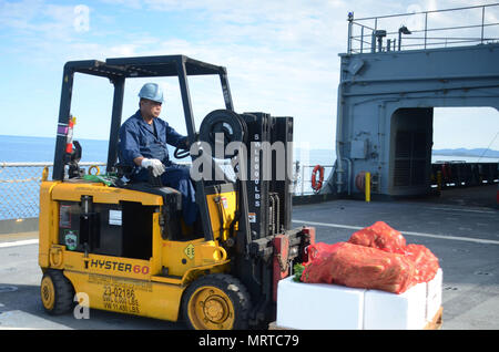 170706-N-WJ640-022 NOUMEA, New Caledonia (July 06, 2017) Nito Catunao, Boatswains Mate onboard USNS Sacagawea (T-AKE 2), operates a forklift during stores onload off shore Noumea, New Caledonia in support of Koa Moana 17, July 6. Koa Moana 17 is designed to improve theater security, and conduct law enforcement and infantry training in the Pacific region in order to enhance interoperability with partner nations. (U.S. Navy photo by Mass Communication Specialist 3rd Class Madailein Abbott) - Stock Photo