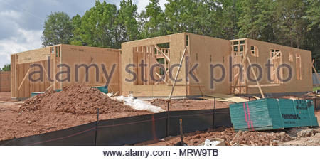 Residential housing under construction in the US - Stock Photo