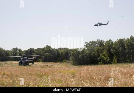 An AS532 Cougar helicopter from the Bulgarian Air Force picks up servicemembers during a combat search and rescue training in Plovdiv, Bulgaria, on July 11 during exercise Saber Guardian 17. A UH-60 Black Hawk helicopter from A Company, 2-10 Assault Helicopter Battalion, and a Mi-24 Hind helicopter from the Bulgarian Air Force circle for security. (U.S. Army photo by Spc. Thomas Scaggs) 170711-A-TZ475-417 - Stock Photo