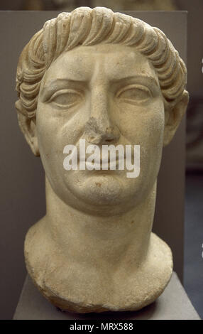 Trajan (Italica, 53-Selinus of Cilicia, 117 AD). Emperor of the Roman Empire from 98 to 117 AD. Marble bust. Dynasty Nerva-Antonine. Ephesus Archaeological Museum. Selçuk, Turkey. - Stock Photo