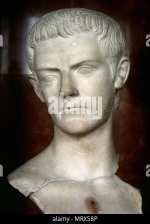 Caligula (12-41 AD). Roman emperor (37-41 AD). Julio-Claudian dynasty. Bust, marble. Louvre Museum. Paris, France. - Stock Photo