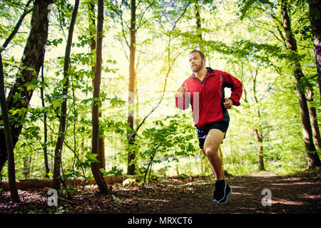 Fit young man in sportswear listening to music on earphones during a lone cross country run through a scenic forest - Stock Photo