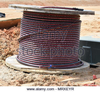 Cable tv cable on reel - Stock Photo