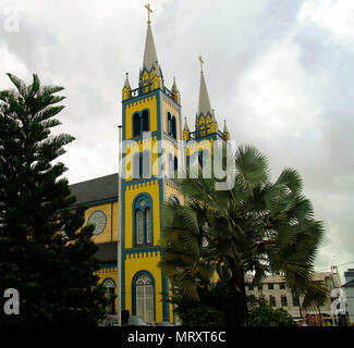 Exterior view to Saint Peter and Paul Cathedral in Paramaribo, Suriname - Stock Photo