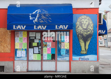 PANCEVO, SERBIA - MAY 19, 2018: Logo of Lav Beer (Lav Pivo), one of the main Serbian Light Beers on one of their shops. Belonging to Carlsberg Serbia, - Stock Photo