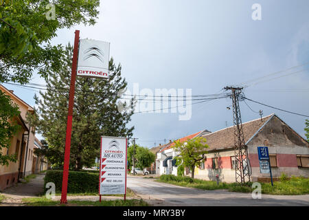 PANCEVO, SERBIA - MAY 19, 2018: Citroen logo on an sign of a car dealership of the brand. Citroen, part of PSA group, is one of main french car produc - Stock Photo