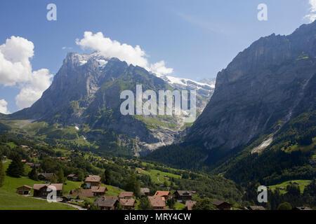 The Wetterhorn across the upper Lütschental, from the First Cablecar, Bernese Oberland, Switzerland - Stock Photo
