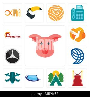 Set Of 13 simple editable icons such as pig face, carpet, campsite, auto glass, quadcopter, wire globe, mercedes, humming bird, centurion can be used  - Stock Photo
