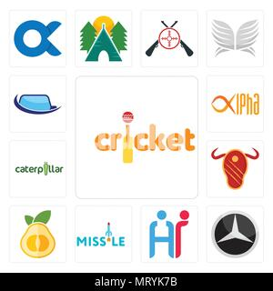 Set Of 13 simple editable icons such as cricket, mercedes, hr, missile, pomelo, steak house, caterpillar, alpha, auto glass can be used for mobile, we - Stock Photo