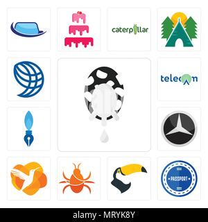 Set Of 13 simple editable icons such as milk company, passport stamp, tucan, cockroach, humming bird, mercedes, pen nib, , wire globe can be used for  - Stock Photo