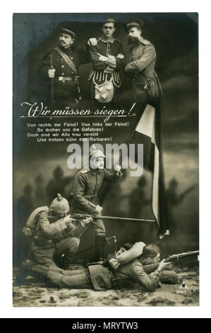 German historical postcard: Black and white studio photography. The soldier holds the banner. Shoot at the enemy. world war one 1914-1918. Germany - Stock Photo