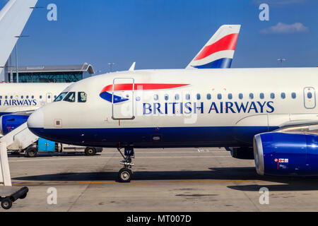 British Airways Planes At Heathrow Airport, London, UK - Stock Photo