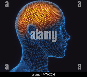 3D illustration. Human brain in a structure of polygonal connections representing the power of the mind. - Stock Photo