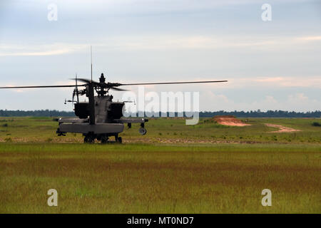 AH-64D Apache pilots with the South Carolina National Guard, 1-151st Attack Reconnaissance Battalion, partnered with members of the 3rd Combat Aviation Brigade, 3/17th Heavy Attack Reconnaissance Squadron, and Pennsylvania National Guard Soldiers with C Company to conduct advanced-level gunnery training during annual training July 2017 at Fort Stewart, Georgia, in preparation for mobilazation. The advanced training consisted of daytime and nighttime team qualification that allowed for the Air Mission Commander to make more decisions on how to engage target in order to develop communication and - Stock Photo