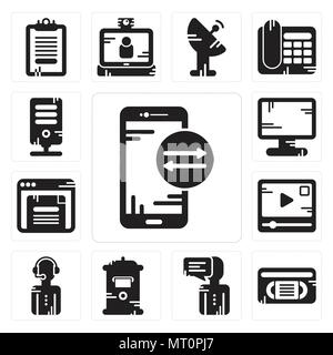 Set Of 13 simple editable icons such as Smartphone, Vhs, User, Mailbox, News reporter, Video player, Browser, Display, Server can be used for mobile,  - Stock Photo