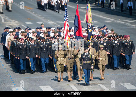 American soldiers, sailors, airmen and Marines lead the annual Bastille Day military parade down the Champs-Elysees in Paris, July 14, 2017. DoD photo by Navy Petty Officer 2nd Class Dominique Pineiro - Stock Photo