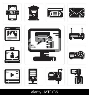 Set Of 13 simple editable icons such as Video call, User, Mailbox, Server, player, Projector, Router, Browser can be used for mobile, web UI - Stock Photo