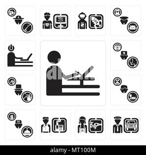 Set Of 13 simple editable icons such as De, Chauffeur, Hairdresser, Receptionist, Concierge, Waiter, Magician, Doctor, Programmer can be used for mobi - Stock Photo