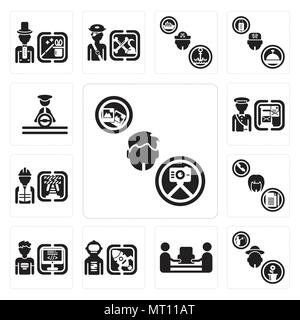 Set Of 13 simple editable icons such as Photographer, Gardener, mover, Spaceman, Programmer, Secretary, Worker, Postman, Driver can be used for mobile - Stock Photo