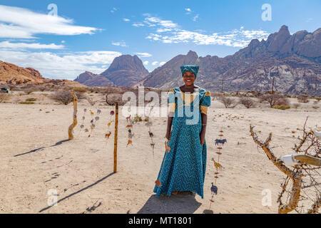 Herero Woman in Spitzkoppe, Usakos, Namibia, Africa - Stock Photo