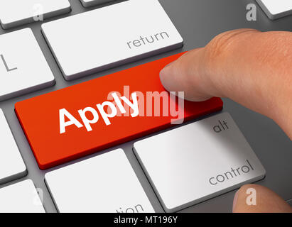 apply pushing keyboard with finger 3d concept illustration - Stock Photo