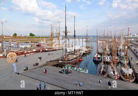 Historical days of more than 100 wooden ships in Elsinore at Pentecost / Whitsun in Helsingør, Elsinore, Denmark. Next to Maritime Museum and Kronborg - Stock Photo
