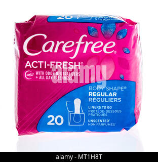 Winneconne - 16 May 2018: A package of Carefree acit-fresh woman pads on an isolated background. - Stock Photo