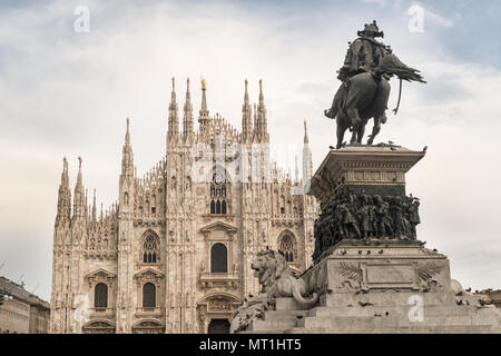 Statue of Vittorio Emanuele II  Emmanuel II in front of the Duomo di Milano - Stock Photo