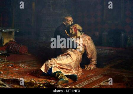 'Ivan the Terrible killing his son' painting by Ilya Repin, Ivan IV Vasilyevich (1530 – 1584), Ivan the Terrible - Stock Photo