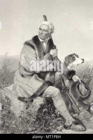 Daniel Boone (1734 – 1820) American pioneer, explorer, woodsman, and frontiersman, one of the first folk heroes of the United States. - Stock Photo