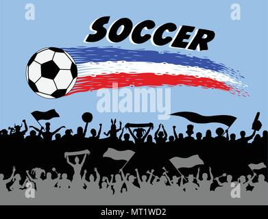 Soccer ball and brush strokes with football supporters silhouettes. The silhouette and the background are in different layers and the text types do no - Stock Photo