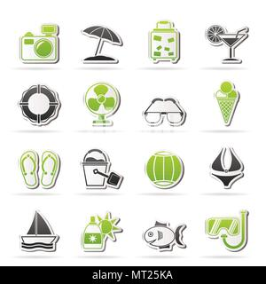 Summer and beach icons - vector icon set - Stock Photo