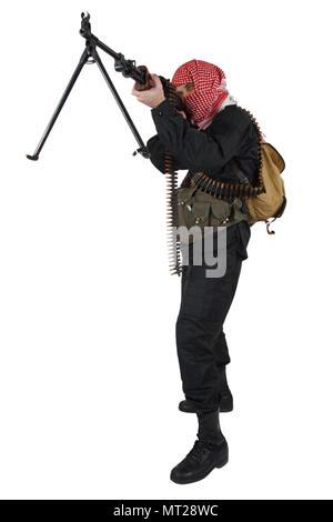 Rebel with machine gun isolated on white - Stock Photo