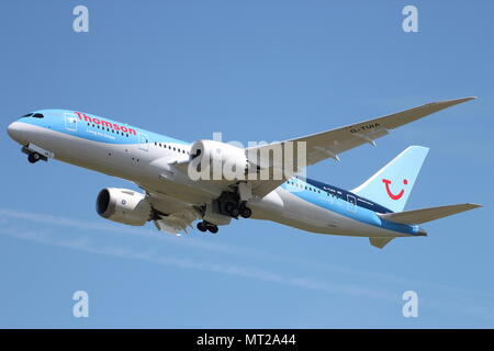 G-TUIA 'Living The Dream', a Boeing 787 Dreamliner operated by Thomson Airways, at Prestwick International Airport in Ayrshire - Stock Photo
